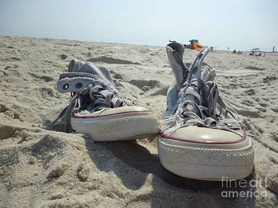 Sneakers Mixed Media - Converse - The Beach by Carolyn Weltman
