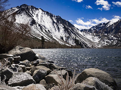 Convict Lake With Ice By Jean Noren Print by Jean Noren