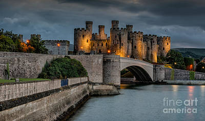 Conwy Castle By Lamplight Print by Adrian Evans