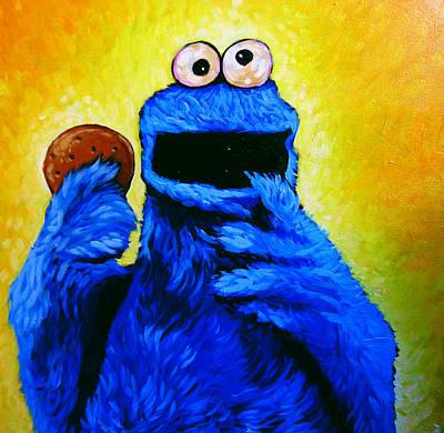 Monsters Drawing - Cookie Monster by Steve Hunter