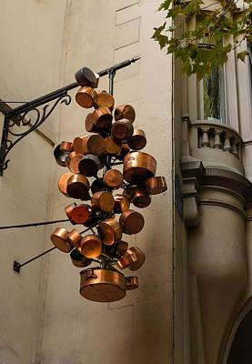 Cool Copper Pots - Parisian Restaurant Left Bank La Rive Gauche Print by Georgia Mizuleva