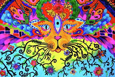 Cool Kitty Cat Print by Marina Hackett