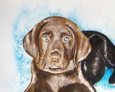 Chocolate Lab Puppy Painting - Cooley by Carol Blackhurst
