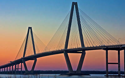 Colorful Photograph - Cooper River Bridge Sunset by Suzanne Stout