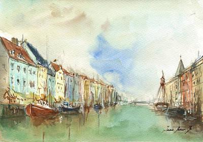 Denmark Painting - Copenhagen Harbour by Juan Bosco