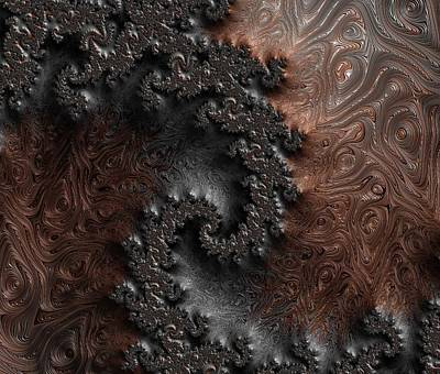 Copper And Steel Embossed Spiral Abstract Print by Marianna Mills