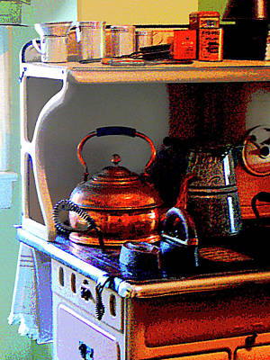 Copper Tea Kettle On Stove Print by Susan Savad