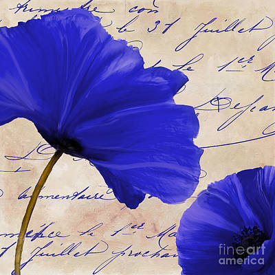 Coquelicots Bleue II Print by Mindy Sommers