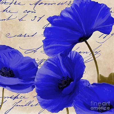 Coquelicots Bleue Print by Mindy Sommers