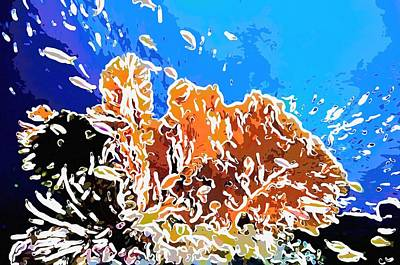Natural Painting - Coral And Fish  by Lanjee Chee