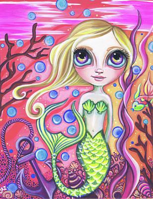 Little Mermaid Painting - Coral Reef Mermaid by Jaz Higgins
