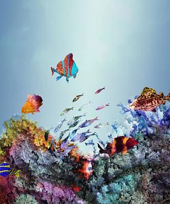 Colorful Tropical Fish Digital Art - Coral Reef by Varpu Kronholm