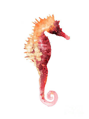 Coral Seahorse Watercolor Painting Print by Joanna Szmerdt