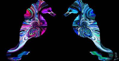 Imagination Digital Art - Coral Seahorses. by Abstract Angel Artist Stephen K