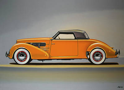 Antique Car Painting - Cord 810 1937 Painting by Paul Meijering