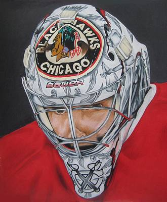 Corey Drawing - Corey Crawford by Brian Schuster