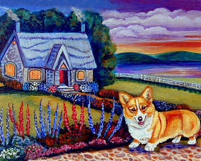 Pembroke Welsh Corgi Painting - Corgi Cottage Sunset by Lyn Cook