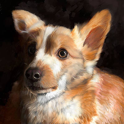 Dog Portrait Painting - Corgi by Enzie Shahmiri