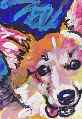 Dog Portrait Painting - Corgi Luv by Lea S
