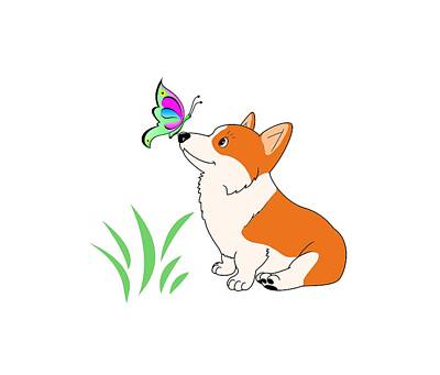 Corgi Drawing - Corgi With Butterfly T-shirt by Kathy Kelly