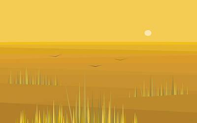 Minimalist Landscape Digital Art - Corn Field Sunrise by Val Arie