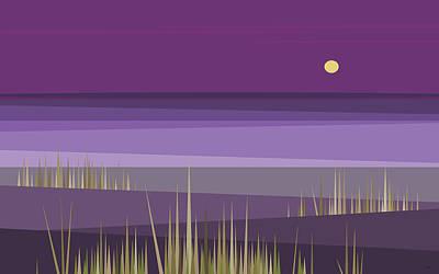Minimalist Landscape Digital Art - Corn Field Twilight by Val Arie