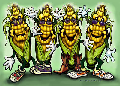 Corn Party Print by Kevin Middleton