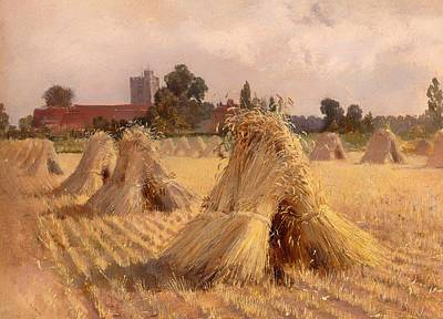 Corn Painting - Corn Stooks At Bray Church by Mountain Dreams