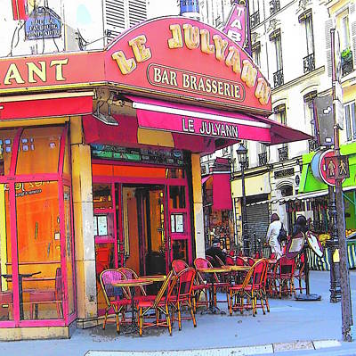 Corner Cafe In Montmartre Paris Print by Jan Matson