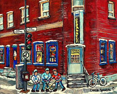 Of Verdun Hockey Scenes Montreal Street Scene Artist Carole Painting - Corner Convenience Store Depanneur Centre Street Hockey Montreal Winter Scene Painting Canadian Art by Carole Spandau