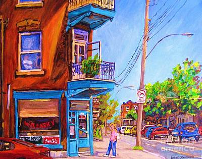 Montreal Cityscenes Painting - Corner Deli Lunch Counter by Carole Spandau