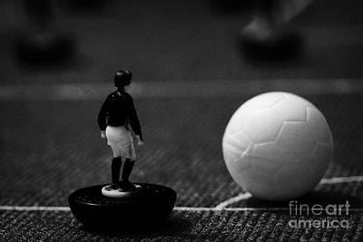 Corner Kick Football Soccer Scene Reinacted With Subbuteo Table Top Football Players Game Print by Joe Fox
