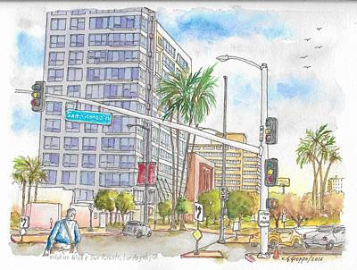 Beverly Hills Painting - Corner Wilshire Blvd. And San Vicente Blvd, Los Angeles, Ca by Carlos G Groppa