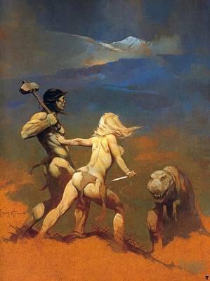 Dinosaur Painting - Cornered by Frank Frazetta