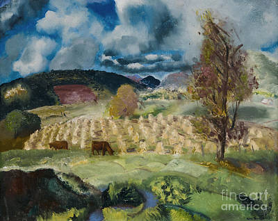 Cornfield Painting - Cornfield And Harvest by George Wesley Bellows