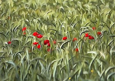 Poppies Painting - Cornfield Poppy Landscape by Tracey Harrington-Simpson