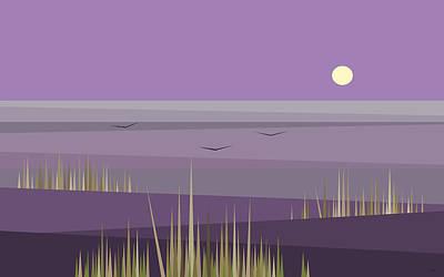 Cornfield Digital Art - Cornfield With A Purple Sky by Val Arie