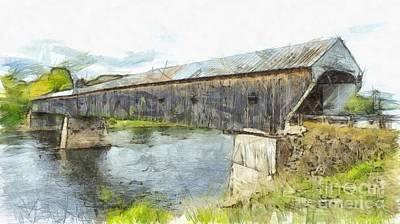 Colored Pencil Photograph - Cornish Windsor Covered Bridge Pencil by Edward Fielding