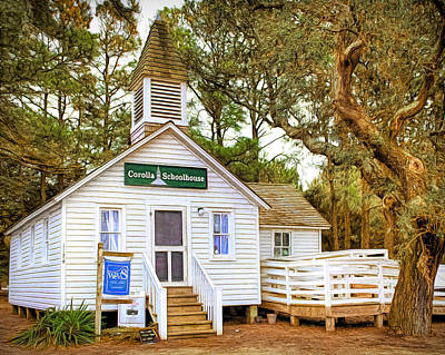 Schoolhouse Mixed Media - Corolla Schoolhouse by Marion Johnson