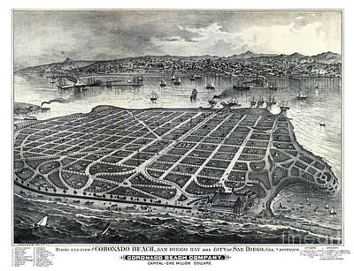 Vintage Map Painting - Coronado - California - United States - 1880 by Pablo Romero