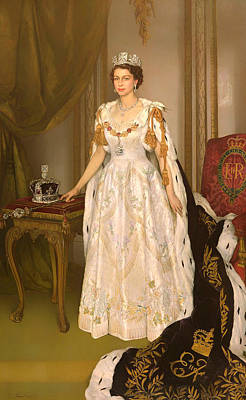 Coronation Portrait Of Queen Elizabeth II Of The United Kingdom Print by Mountain Dreams