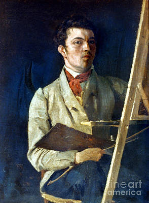 Self-portrait Photograph - Corot With Easel, 1825 by Granger