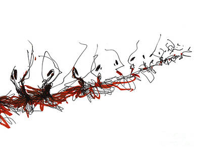 Corps De Ballet In Red Tutus Print by Lousine Hogtanian