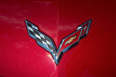 Red Photograph - Corvette Emblem On Red by J Darrell Hutto