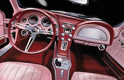 Corvette Sting Ray Interior Print by Uli Gonzalez