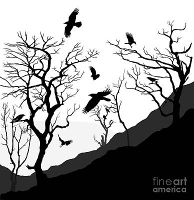 Crow Drawing - Crows Roost by Philip Openshaw