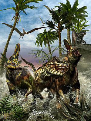T-rex Digital Art - Corythosaurus Last Run by Kurt Miller