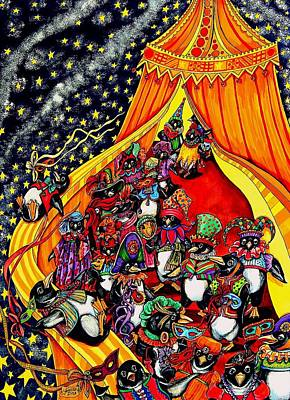 Mardi Gras Painting - Cosmic Penguins by Sherry Dole