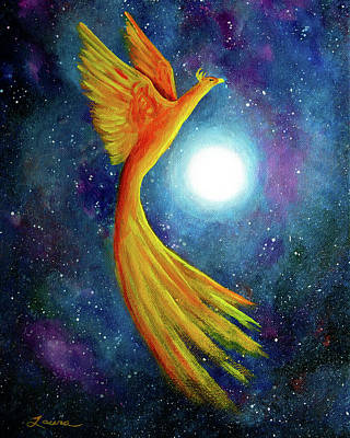 Moonscape Painting - Cosmic Phoenix Rising by Laura Iverson