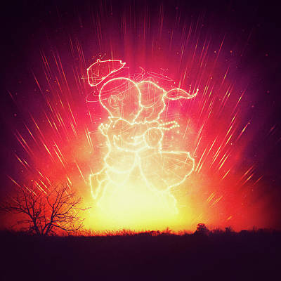 Science Fiction Drawing - Cosmo And Celeste Colorful Cosmological Night Sky Couple In Love  by Philipp Rietz